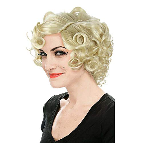 HUALIL Short Blonde Curly Hair Women Adult Loose Wavy Classic Marilyn Monroe Cosplay Wigs with Free Cap -