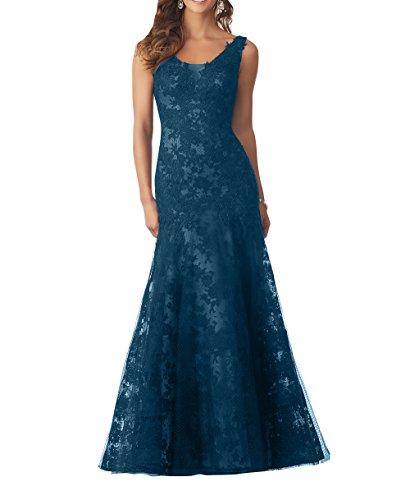 Neu Blau Traeger Abendkleider Festlichkleider Brautmutterkleider Langes Bodenlang Spitze Tinte Damen Partykleider Charmant Breit qwxX7qvt