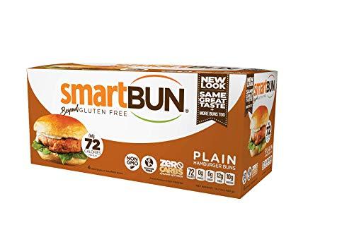 Plain Smartbun Gluten Free, ZERO CARB of sugar of starch, Hamburger Buns- 24 pack