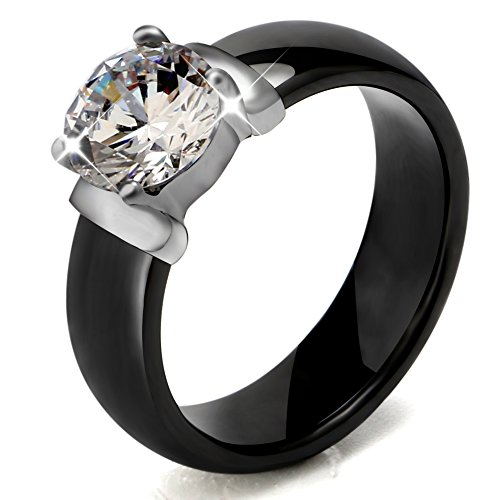 Tuhe 6mm Black Ceramic Rings Plus Big Cubic Zirconia For Women Engagement Jewelry (7)