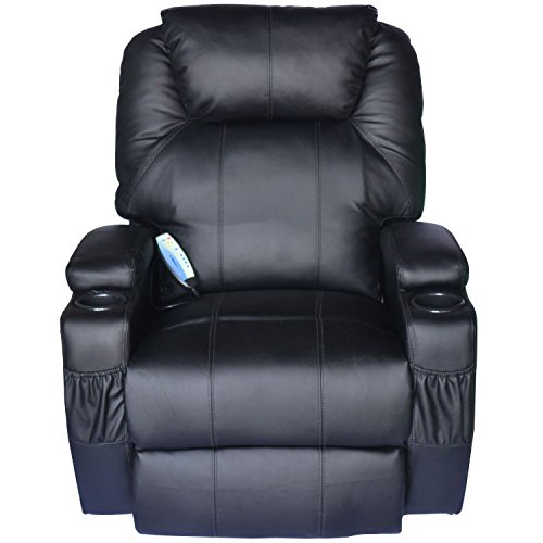 Black Pu Leather Rocker - HomCom PU Leather Heated Vibrating 360 Degree Swivel Massage Recliner Chair with Remote - Black