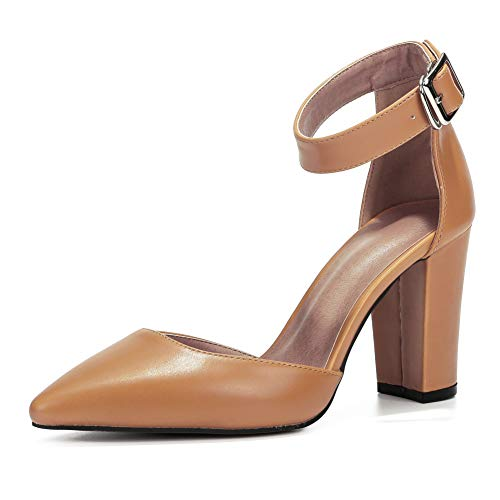 Women's Elegant D'Orsay Ankle Strap Pointed Toe Pumps Block Chunky High Heel Shoes Nude PU-44(270/US11.5)