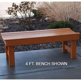 6' Garden Bench, Recycled Plastic, Cedar (6' Recycled Plastic Table)