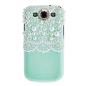 HOR Cordón blanco y perlas de Bling cubierta protectora del caso hecho a mano para Samsung Galaxy i9300 s3 , Azul