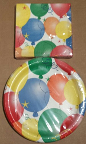 Party! Happy Birthday Balloon Paper Plates (18) and Luncheon Napkins (20) (Plates Party Happy Birthday)
