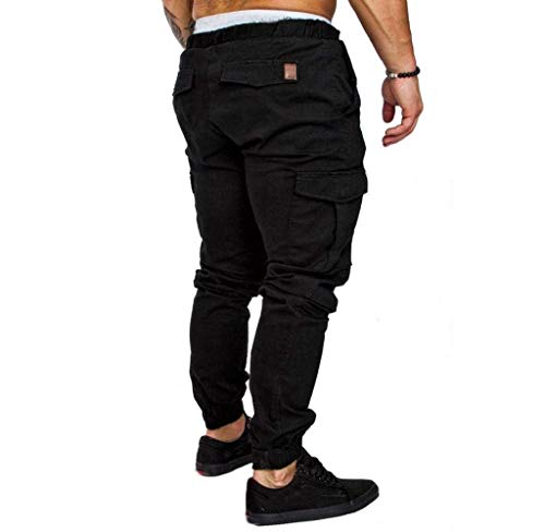 Men Abbigliamento Tapered Regular Jogger Jeans Long Pants Pantaloni Chino Classics Cargo Nero Fit Slim CUd0qw0
