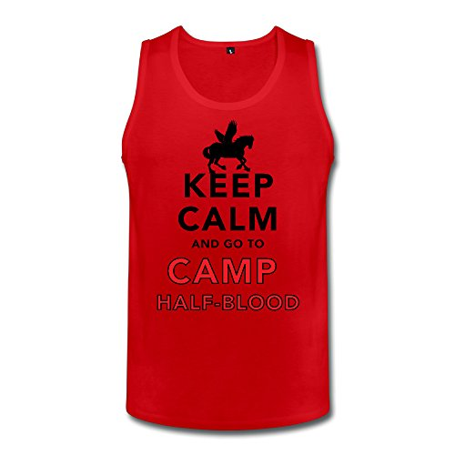 FQZX Men's Keep Calm And Go To Camp Half Blood Tank Tops XX-Large Red (Logan Lerman Merchandise compare prices)