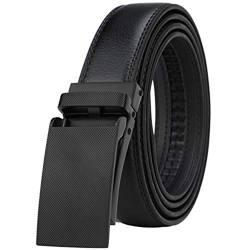 Belt Black Buckle Genuine (Men's Comfort Genuine Leather Ratchet Dress Belt with Automatic Click Buckle (Suit Pant Size 28
