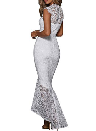 Maxi White Bardot Sleeveless Fishtail High Womens Evening Gown Lace Neck Dress ZKESS IqPzSwt