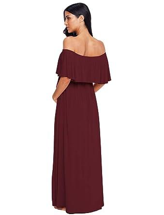bd4154bceb5 Ecavus Women s Off Shoulder Ruffle Trim Maxi Maternity Dress for Baby  Shower at Amazon Women s Clothing store