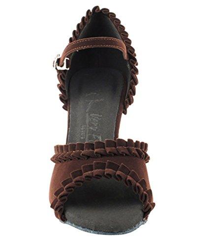 Very Fine Ballroom Latin Tango Salsa Dance Shoes for Women SERA7001 3-Inch Heel + Foldable Brush Bundle Dark Coffee Velvet oRO35CfB10