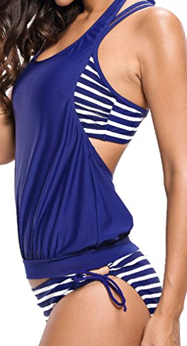 Frieda Fashion - Tankini - Opaco - para mujer Azul