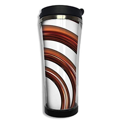 - Customizable Travel Photo Mug with Lid - 8.45 OZ(250 ml)Stainless Steel Travel Tumbler, Makes a Great Gift by,Copper Decor,Copper Helix Coil Curved Spiral Pipe Swirled Shape on White Backdrop Decorat