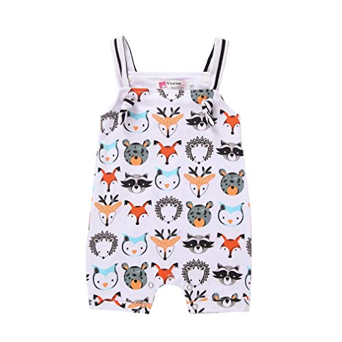 Baby Girl Boy Clothes Newborn Animal Print Bodysuit Infant Sleeveless Romper Jumpsuit Onesies (Animal Print Bodysuit, 0-6M/70) -
