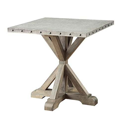 Rustic End Table with Nailhead Trim Driftwood For Sale