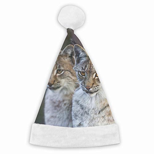 (Santa Hat,Animal Lynx Cats Unisex Velvet Fabric Christmas Hat with Comfort Lining&Plush)