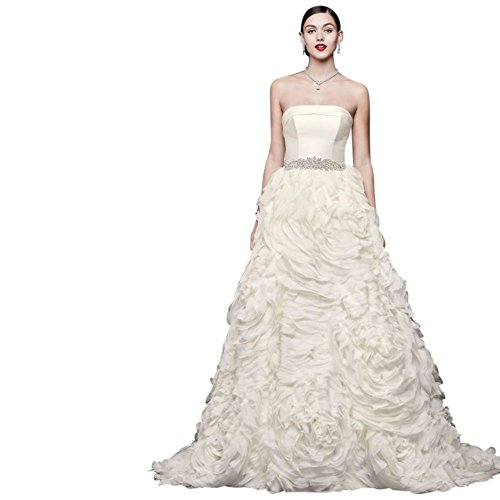 David's Bridal Chiffon Rosette Strapless Ball Gown Wedding Dress Style CWG805, Ivory, (Oleg Cassini Bridal Dresses)