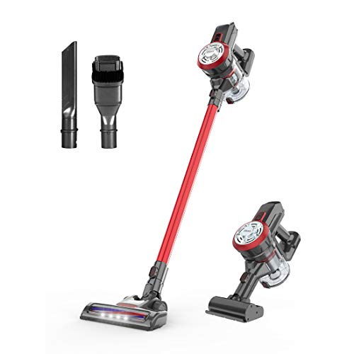Dibea Cordless Lightweight Stick Vacuum Cleaner, 12000pa Powerful Suction Bagless Rechargeable 2 in 1 Handheld Car Vacuum with Mini Motorized Brush, Red