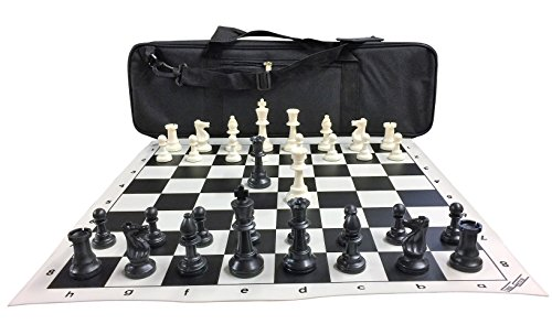 Chesscentrals Ultimate Chess Set Package  Triple Weighted Heavy Chess Pieces  2 Extra Queens  Black Roll Up Vinyl Chess Board  Black 24  X 9  Carrying Case And Instructions On How To Play Chess