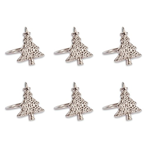 (DII CAMZ37644 Napkin Ring Christmas Tree S/6 Set of 6 Silver Piece)
