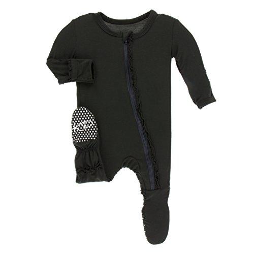 (Kickee Pants Little Girls Solid Muffin Ruffle Footie with Zipper - Zebra, 18-24 Months )