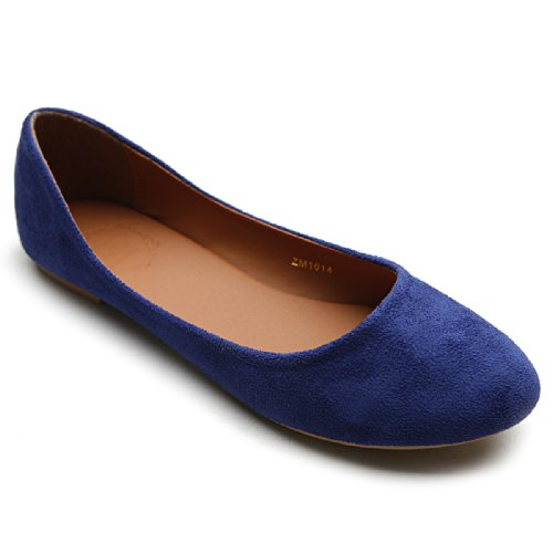 Ollio Scarpa Donna Balletto Light Faux Suede Tacco Piatto Blu Royal