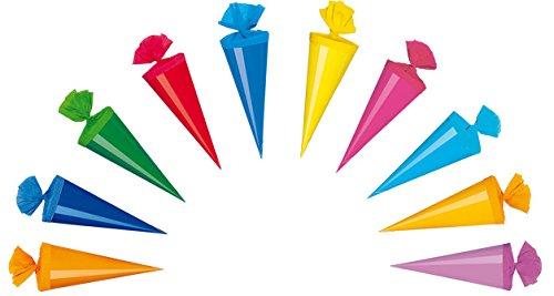 10 Deko Schultüten / Länge: 20cm / 10 verschiedene Farben Livepac-Office