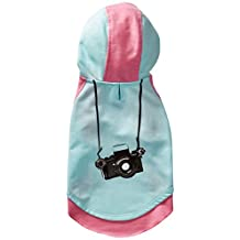 "Blueberry Pet Cotton Dog Camera Hoodie in Mint & Hot Pink, Back Length 10"", Pack of 1 Clothes for Dogs"