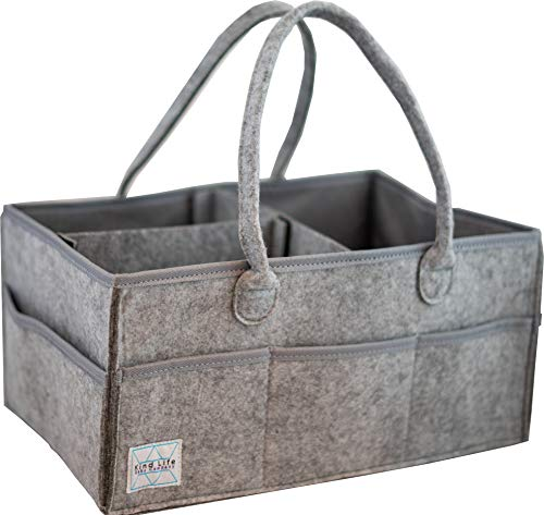 (Kind Life Baby Company Diaper Caddy Essential Storage Organizer Made with Felt for Durability and Style The Ultimate Gray Bag)