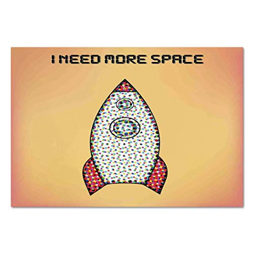 Large Wall Mural Sticker [ Vintage Decor,Quote with Radiant Tone Futuristic Spaceship Rocket Moon Cosmos Humor Artwork,Multi ] Self-adhesive Vinyl Wallpaper / Removable Modern Decorating Wall Art ()