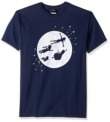 Disney Men's Peter Pan Tinkerbell Second Star to Right Graphic T-Shirt, Navy, ()