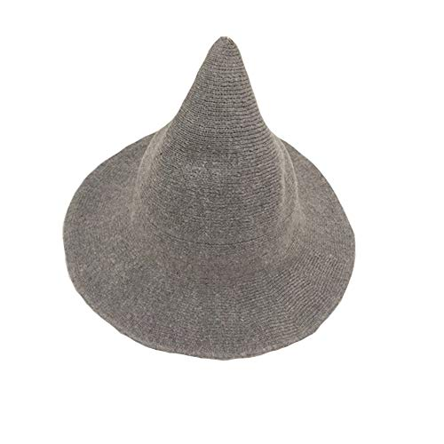 Dragon Honor Modern Halloween Witch Hat Women Wool Wide-Brimmed Hat Cap (Gray) ()