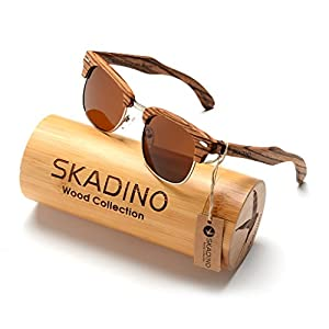 SKADINO Handmade Wood Sunglasses with Polarized Lenses for Men or Women in a Clubmaster-S1056