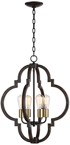 Cheap Ayoura 20″ Wide Wood Grain 4-Light LED Pendant Chandelier
