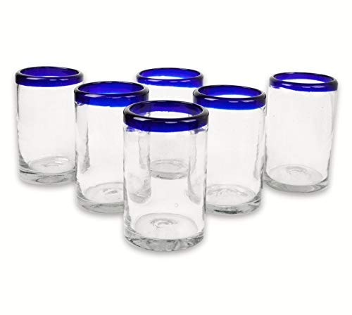 (Mexican Blown Glass Drinking Glasses Cobalt Blue Rim (Set of)