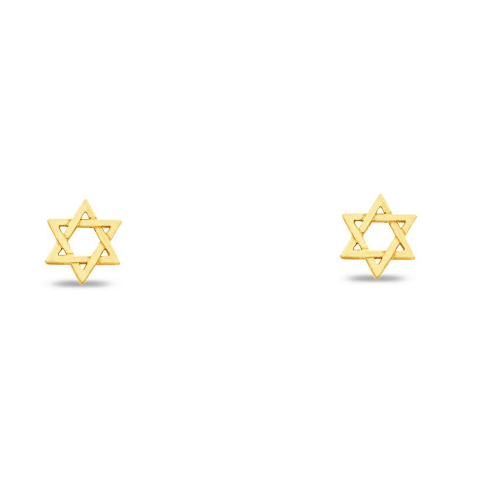 Jewel Tie Solid 14K Yellow Gold Star of David Stud Earrings 6 X 6mm