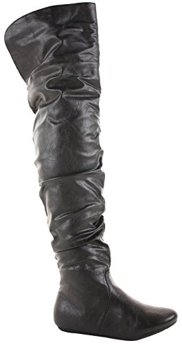 WOMENS LADIES FLAT WALKING WINTER LOW HEEL BIKER STYLE RIDING PULL ON THIGH HIGH OVER THE KNEE BOOTS SIZE 3-8 NEW Style 1 - Black Faux Leather