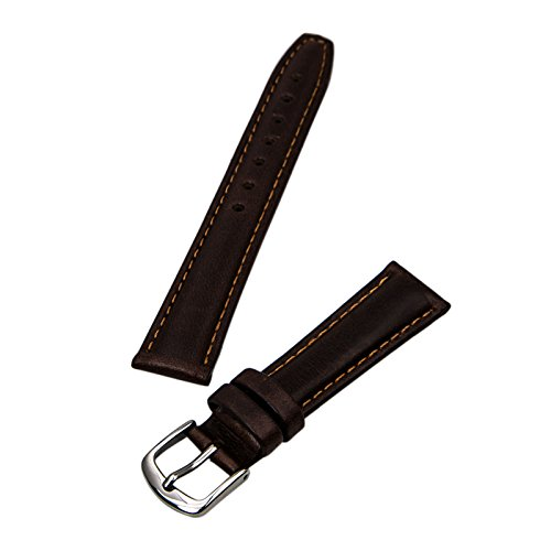 Hadley Roma LS881 16mm Regular Brown Oil Tan Leather Stitched Ladies Watch Band ()