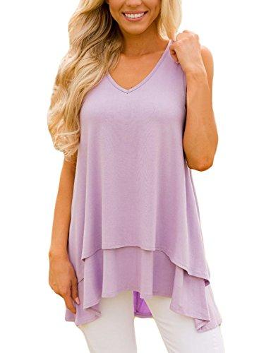 AlvaQ Women's Casual Sexy Plus Size Cotton Sleeveless Tank Tops Tunic Purple (Plus Tank Sleeveless Size Top)