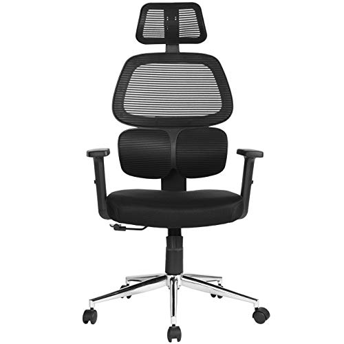 Ergonomic Office Chair Mesh Computer Desk Chair High Back Swivel Task Executive Chairs with Lumbar Support Adjustable Backrest Headrest Armrest Seat Height for Home Office Conference, Black TIKI-14