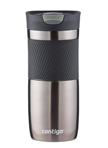 (Contigo SnapSeal Byron Vacuum-Insulated Stainless Steel Travel Mug, 16 oz, Gunmetal)