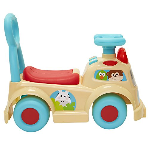 41jyCS06r0L - Moose Mountain Jungle Safari Push N' Scoot Ride-on with Lights and Sounds [Amazon Exclusive] , Beige/Blue