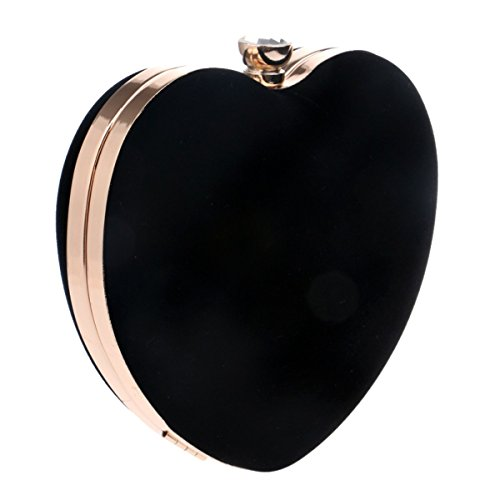 bag KERVINFENDRIYUN suede Women Color Evening Black heart Bag Purse Peach Clutch Handbag Black Cosmetic A8aFAqdgT