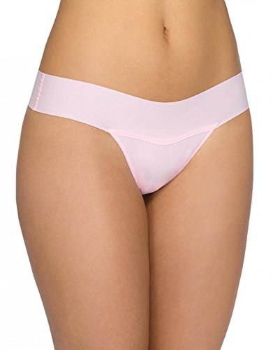"""Hanky Panky Womens BARE """"Eve"""" Natural Rise Thong in Bliss Pink Size Large"""