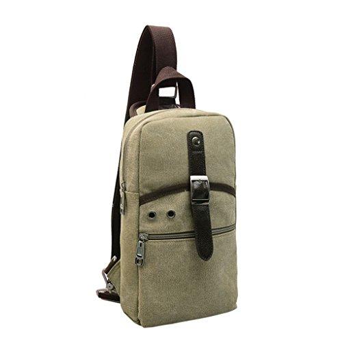 yanxi Unisex Vintage paquete pecho sólida lienzo Mini bandolera Messenger/bolso de hombro verde oliva