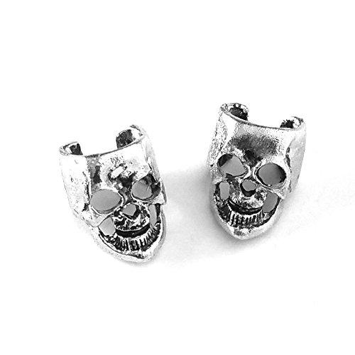 Antiqued Silver Skull Ear...