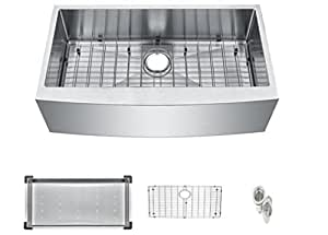 "Starstar 36"" Undermount Farmhouse Apron 304 Stainless Steel 16 Gauge Kitchen Sink With Accessories (Single Bowl)"