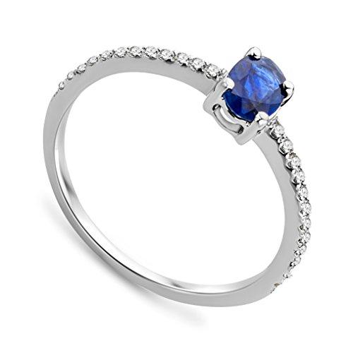 Bague - SA986RO - Femme - Or Blanc 375/1000 (9 Cts) 1.25 Gr - Diamant/Saphir