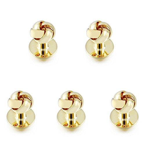 Knot Tuxedo (HAWSON Personalize 5PCS Flower Knot Man Shirt Tuxedo Studs and Cufflinks Set Gold)