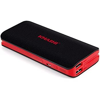 KMASHI 10000mAh Portable Power Bank with Dual USB Ports 3.1A Output and 2A Input - Black